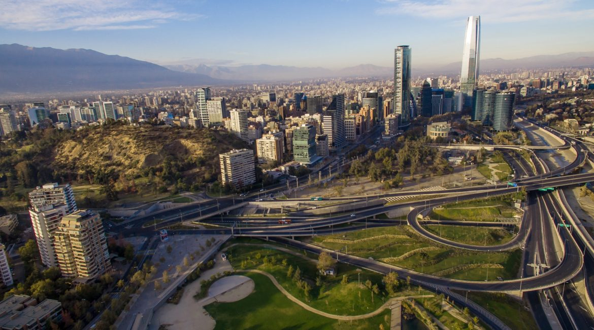 Aerial view of road jungtion and Manquehue hill in Chilean capital Santiago.